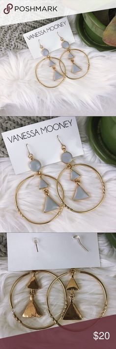 Vanessa Mooney • Drop Hoop Earrings Make a bold statement with these fashionable earrings by Vanessa Mooney • Perfect addition to your oversized off the shoulder sweater and distressed girlfriend jeans • Enamel shapes are grey with a hint of light blue • Gift wrap available upon request   Condition: New Vanessa Mooney Jewelry Earrings