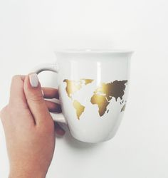 World Map Coffee Mug in Gold by LoveAliceLouise on Etsy