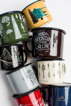 Coffee Mugs - Campfire-proof, durable enamel mugs you can brandish over an open flame.
