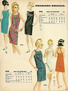 60s shift dress day floral dots white black blue red pattern illustration Smashing Smocks-McCall's Patterns 1966-67