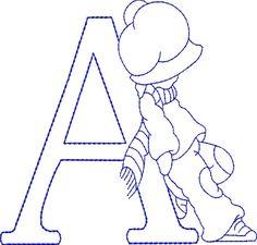 Alphabet letters risks or molds Sunbonnet Sue embroidery - Alphabets Lindos Embroidery Alphabet, Embroidery Monogram, Embroidery Applique, Embroidery Stitches, Sunbonnet Sue, Applique Designs, Machine Embroidery Designs, Cross Stitch Patterns, Quilt Patterns