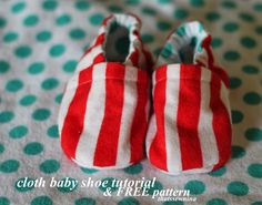 Check out my tutorial and pattern for making cloth baby shoes! Sure to be a crowd pleaser at your next baby shower.