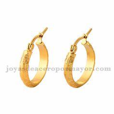 4*19m argollas de dorado en acero para mujer-SSEGG504369