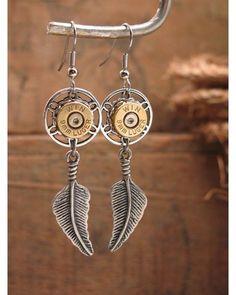 Women's Dreamcatcher 9mm Bullet Casing Dangle Earrings - Silver,