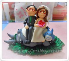Arts-n-Gizmo - Handmade arts and crafts: Customized Totoro Wedding Clay Cake Topper