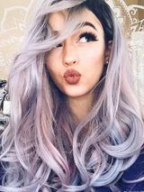 Mixed Color Purple Pink Wig Long Synthetic Lace Front Wig Heat Resistant Natural Wave Wigs for Black Women Brown Ombre Hair, Brown Hair With Highlights, Ombre Hair Color, Brown Blonde, Hair Colors, Thalia, Ombré Hair, Lace Hair, Hair Bangs