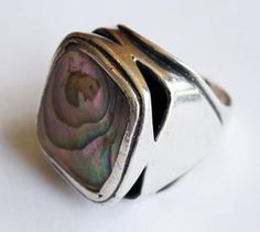 """Art Smith  American  Ring  Sterling silverand mother of pearl  Stamped """"Art Smith""""  1"""" x 1"""""""