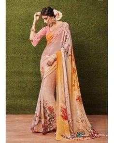 Beautifull Floral Georgette Printed Saree