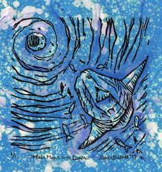 ::MOLAMOLA>><<LUNA::  Técnica mixta. Grabado a linóleo sobre papel de color con aguada de lejía y acuarela. Night, Artwork, Colored Paper, Printmaking, Watercolor Painting, Paper Envelopes, Work Of Art, Auguste Rodin Artwork, Artworks