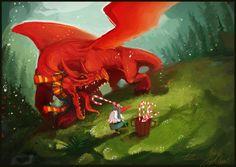 Feeding the Dragon Christmas Card by *Art-Calavera on deviantART Christmas Dragon, Christmas Art, Christmas Holiday, Vintage Christmas, Welsh Dragon, Dragon's Lair, Sword And Sorcery, Dragon Art, Red Dragon