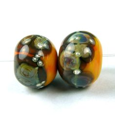 Opaque Apricot Handmade Lampwork Glass Beads With Raku Frit fb418 Shiny (Choices of Etched, .999 Fine Silver, Shapes, Sizes, Large Hole Beads Extra)