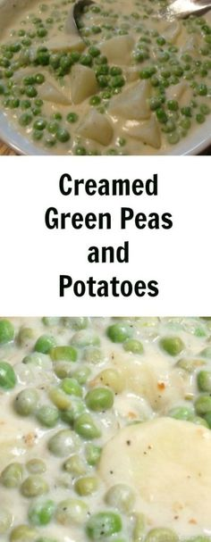 INGREDIENTS: 2 large potatoes (or several small new potatoes) 2 Tbsp butter 2 Tbsp flour 1 c cream 1 c milk 3 c fresh shelled peas or frozen