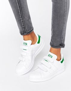 Image 1 of adidas Originals White And Green Velcro Stan Smith Sneakers