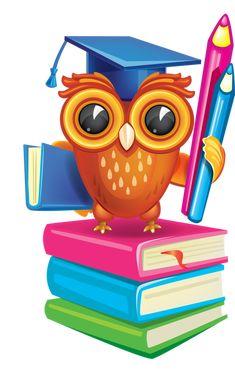 Owl with his Diploma Owl School, School Teacher, Owl Clip Art, Owl Art, Class Decoration, School Decorations, Owl Classroom, Classroom Decor, Owl Books