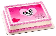Pink Panda Edible Birthday Cake Topper OR Cupcake Topper, Decor - Edible Prints On Cake (Edible Cake &Cupcake Topper) Cupcake Toppers, Edible Cake Toppers, Birthday Cake Toppers, Bolo Panda, Edible Printing, Pink Panda, Diy Presents, Rice Paper, It's Your Birthday