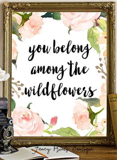 Floral Quote Printable Art PrintYou Belong by FancyPrintsBoutique