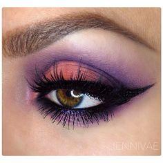 "#ShareIG  @tartecosmetics Mattenificent palette  @makeupforeverofficial Peach Apricot, Dark Purple, and Lavender  @doseofcolors ""Double Dose"" lashes  @Anastasiabeverlyhills Auburn Dipbrow, Brunette brow pencil, clear brow gel."