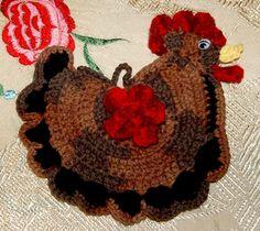 Chocolate Crochet Chicken Potholder