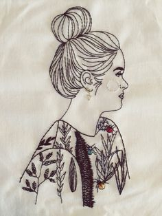 giselle quinto — F. Portrait Embroidery, Hand Embroidery Art, Embroidery Thread, Cross Stitch Embroidery, Embroidery Patterns, Machine Embroidery, Contemporary Embroidery, Modern Embroidery, Blackwork