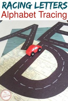 Racing Letters Alphabet Tracing learning activity for kids.