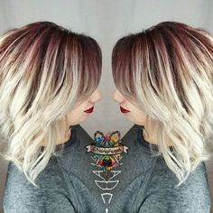 Gorgeous burgundy blonde color by @hairbykaseyoh using #KenraColor!