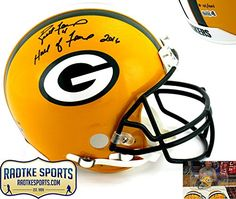 """Brett Favre Autographed/Signed Green Bay Packers Riddell Authentic NFL Helmet with """"Hall of Fame 2016"""" Inscription - LE"""