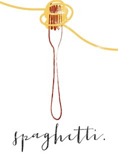 Spaghetti & Gabel kulinarische Grafik von FowlerCreativeArts