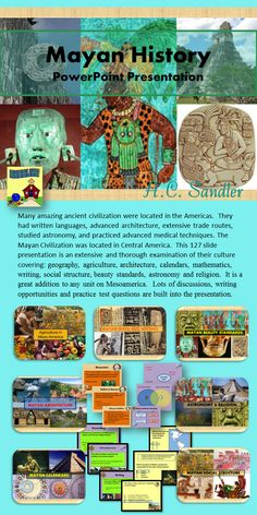 Mayan History PowerPoint Presentation- Keepers of time, architectural wonders, a people so mysterious that much of their history has been shrouded by the rainforest. Who were they, and where did they go? This presentation includes several class discussions, writing opportunities, and practice test questions. It is a fabulous addition to your unit on Ancient America.