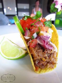 PULLED PORK TACOS WITH SESAME PINEAPPLE SLAW