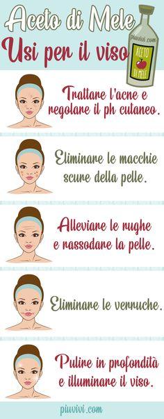 Aceto di sidro di mele: usi per il viso. L'aceto di mele è utile per regolare il pH della pelle; trattare l'acne; eliminare le macchie cutanee; alleviare le rughe; eliminare le verruche intorno alla bocca, sul viso e sul collo; pulire in profondità e illuminare la pelle del viso.