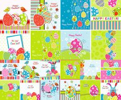 Happy Easter postcards templates with painted eggs, the image is very colorful and fun, will give a good mood and a smile. Free download. Ready for print.