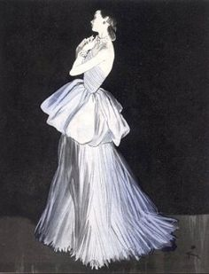 Rene Gruau, Evening gown, Lucien Lelong, 1947. the evening dresses that Lelong produced in the 1930s still look modern today, because they were influenced by neoclassical drapery