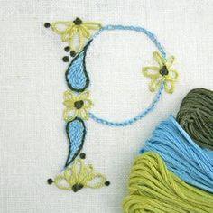 Crewel Embroidery Kit DIY Pattern pdf Monogram P by PrairieGarden