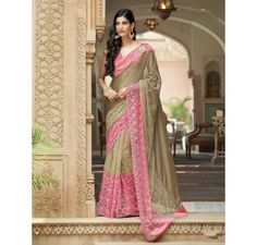 Pink and Golden embroidered designer Net saree
