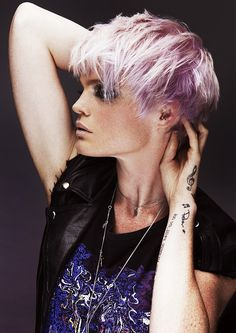 Short blonde straight coloured multi-tonal messy choppy womens haircut hairstyles for women