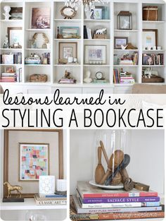 Lessons Learned in Styling a Bookcase. great tips on decorating shelves and bookcases! Decorating Bookshelves, Bookshelf Styling, Bookshelf Wall, Bookcase Organization, Diy Décoration, Diy Crafts, Diy Home, Home Decor Inspiration, Decor Ideas