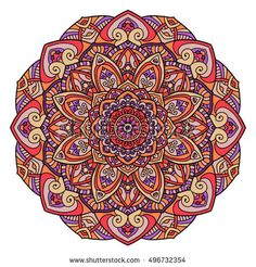 Vector round abstract circle. Mandala style.