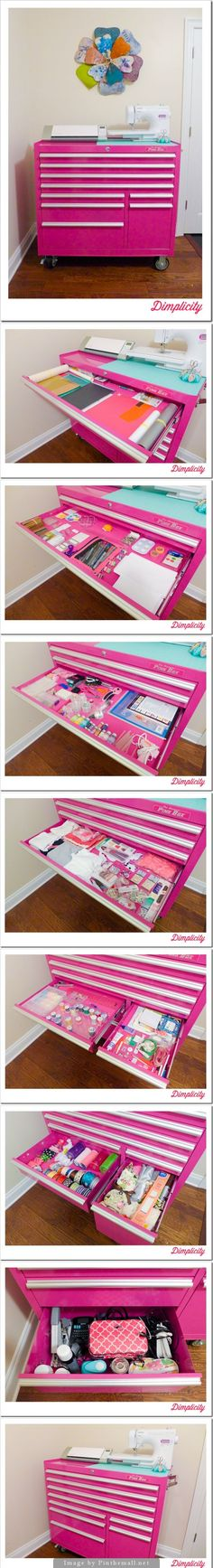 I love this craft storage idea from a toolbox. love the paint color. this would be great for stamping supplies. - Crafting Is My Life