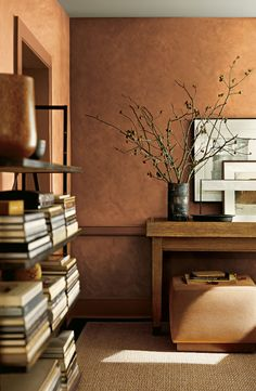 Texture your walls to evoke the beauty of brushed suede with Ralph Lauren Paint's Suede finish in Clay Red.