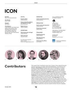 Contributors page ICON magazine E Magazine, Magazine Editorial, Digital Magazine, Page Layout Design, Magazine Layout Design, Magazine Contents, Content Page, Grid Layouts, Scribe