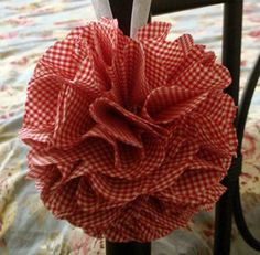 red gingham decorations | ... Flower Pom Ball, Vintage Red and White Gingham Fabric, Wedding Decor