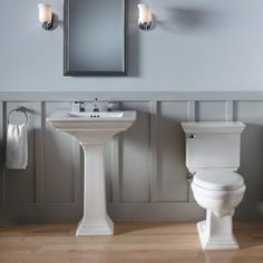 The crisp, clean lines of this pedestal sink make it a beautiful choice for your bathroom makeover.
