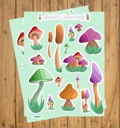 2 Pack Mushroom Stickers, Mushroom Decor, Boho sticker, Planner Stickers, Outdoor Lover Gift, Planne