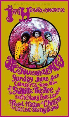 BoB Masse art poster 4.6.1967; jimi hendrix experience - procol harum; gbr, london, saville theatre; bob masse; (t) (db) (2)