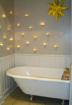 tea lites #bathroom--lovely effect- [someone else's caption]