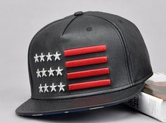 Adjustable Embroidery USA flag faux leather Snapback Hat flat brim Baseball Cap Flat Cap Hip Hop Hat