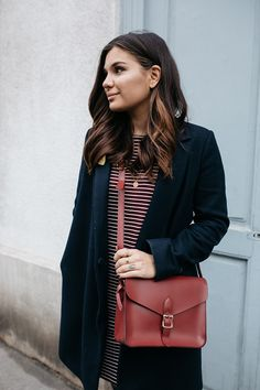 People Tree. Malena Stripe Dress in Burgundy. AW15. www.peopletree.co.uk. via Dariadaria