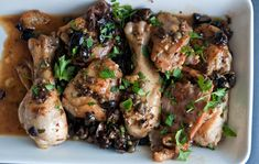 Dinner Tonight: Piquant Chicken Pollo Piccante-Very much like Pasta alla Puttanesca but with chicken-from the Italian cookbook, Cucina Rustica Entree Recipes, Cooking Recipes, Cooking Ideas, Chicken With Olives, Sicilian Recipes, Dinner Entrees, Serious Eats, Pasta, Dinner Tonight