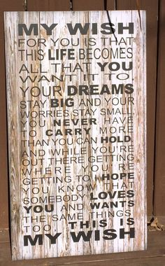 My Wish For You Rascal Flatts Song Christmas Gift Wood Sign, Canvas Wall Hanging or Canvas Banner -Dorm Room, Teenager, Birthday, Graduation by HeartlandSigns on Etsy