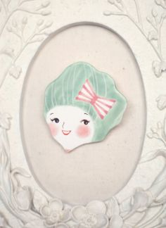 minini hand painted porcelain brooch pin unique jewelry by min lee